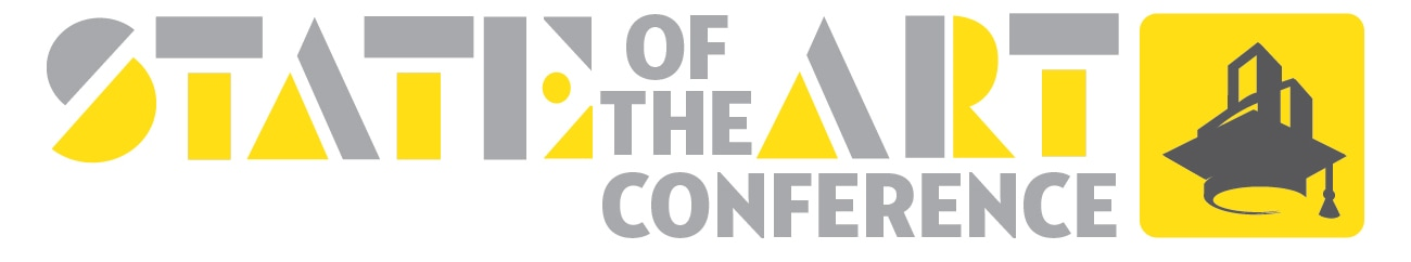 State of the Art Conference. Dark grey skyscrapers emerge from atop a graduation cap against a yellow background.